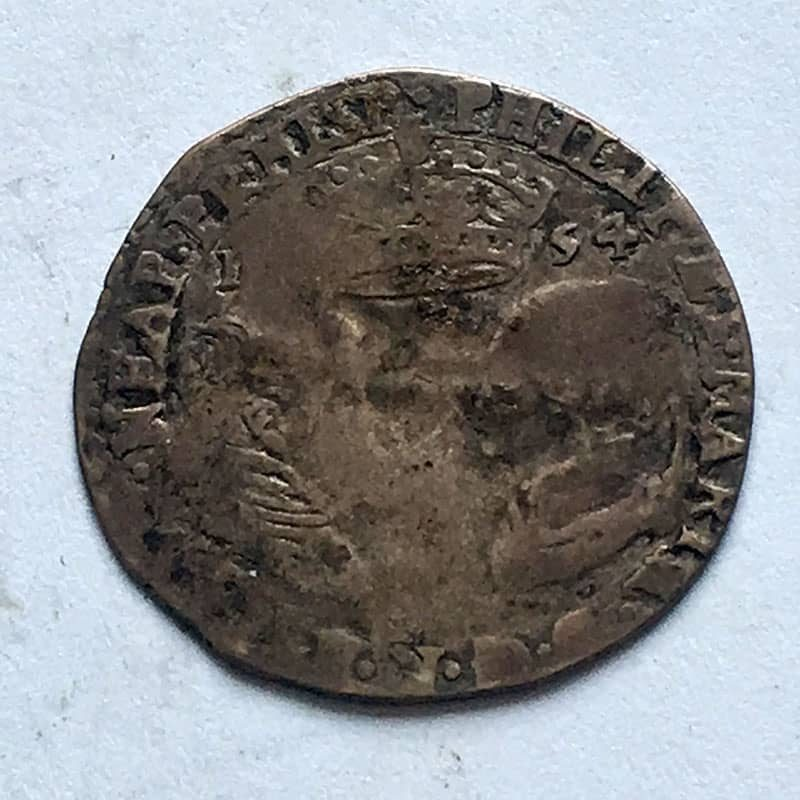 Hammered Sixpence 1554