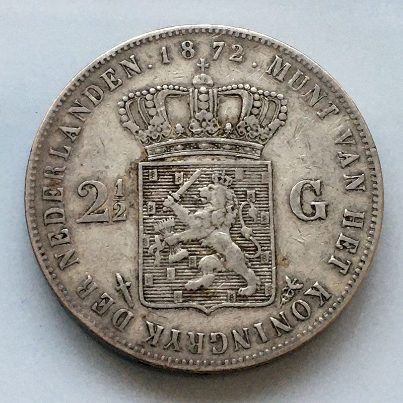 Netherlands 2 1/2 Gulden 1872