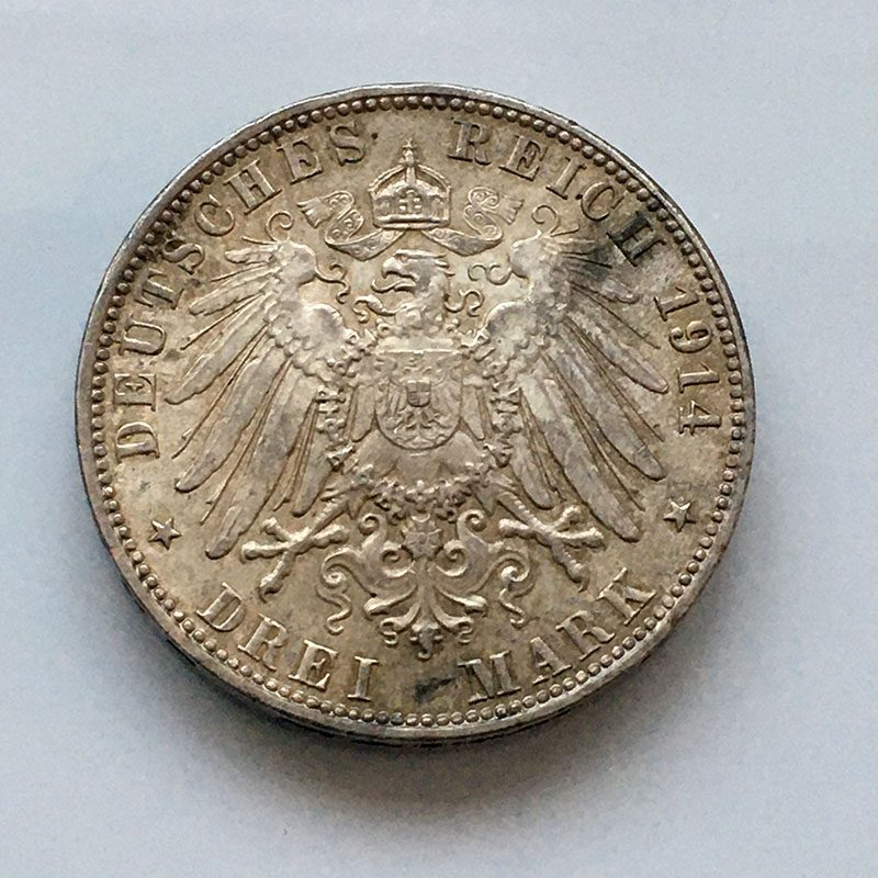 German states Hamburg 3 Mark 1914