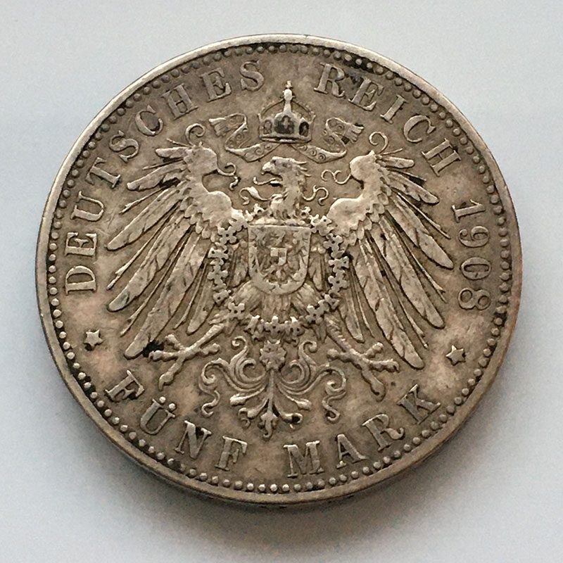 German states Bavaria 5 mark 1908