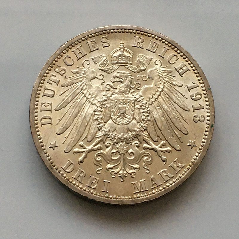 German States Prussia 3 Mark 1913