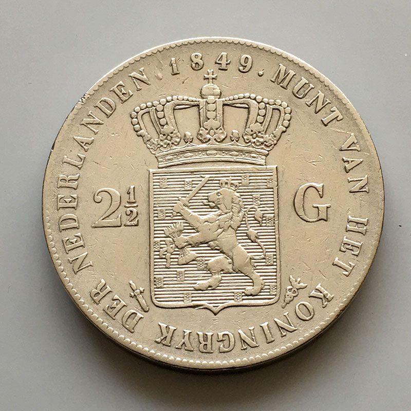 Netherlands 2 1/2 Gulden 1849