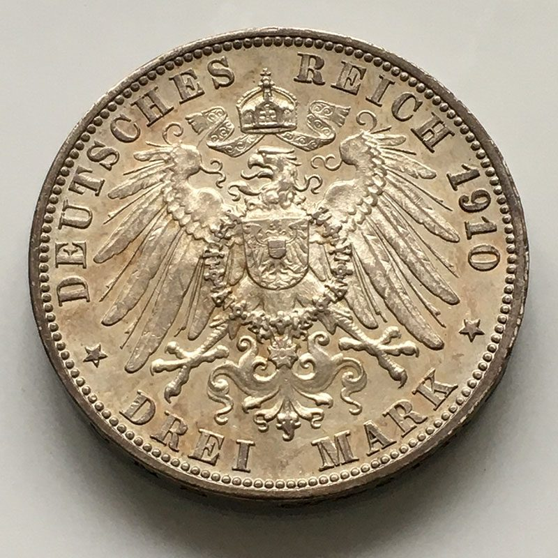 German states Wurtemburg 3 mark 1910